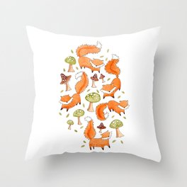 Little Foxes Throw Pillow