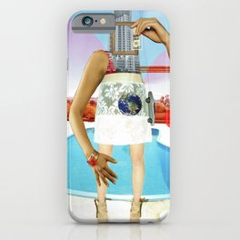 the crazy woman and the world of consumption iPhone Case