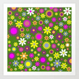 Multicolored Flower Garden Pattern Art Print
