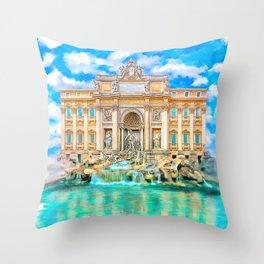 Trevi Fountain - Landmark Rome - La Dolce Vita Throw Pillow