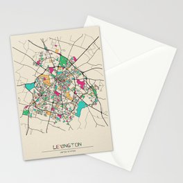 Colorful City Maps: Lexington, Kentucky Stationery Cards