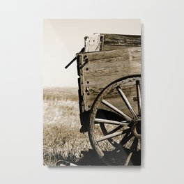 Antique Wooden Wagon in a Field Metal Print