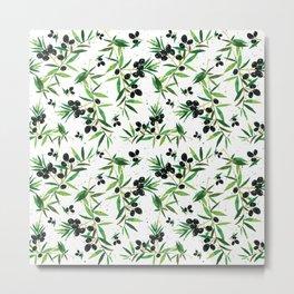 Olive Branch Pattern Metal Print
