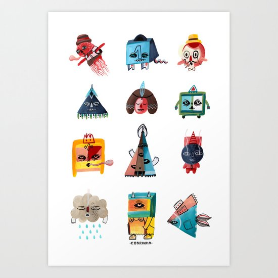 Monster Shapes Art Print