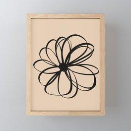 Abstract Flower Black Beige Framed Mini Art Print