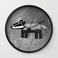 badger Wall Clocks featuring Badger by Nic Squirrell
