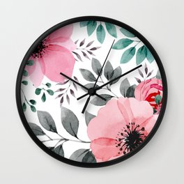 FLOWERS WATERCOLOR 14 Wall Clock