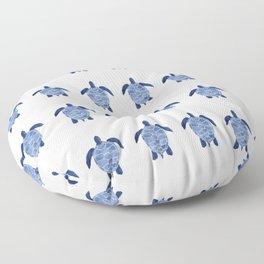 Sea Turtle Pattern in Indigo Floor Pillow