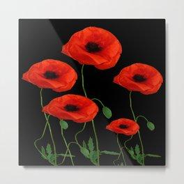 BLACK ART DECO RED POPPIES DESIGN Metal Print