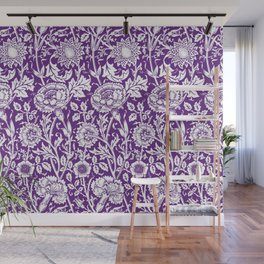 "William Morris Floral Pattern | ""Pink and Rose"" in Purple and White Wall Mural"