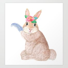 Rabbit with peony flower and blue bird feather, watercolor Art Print