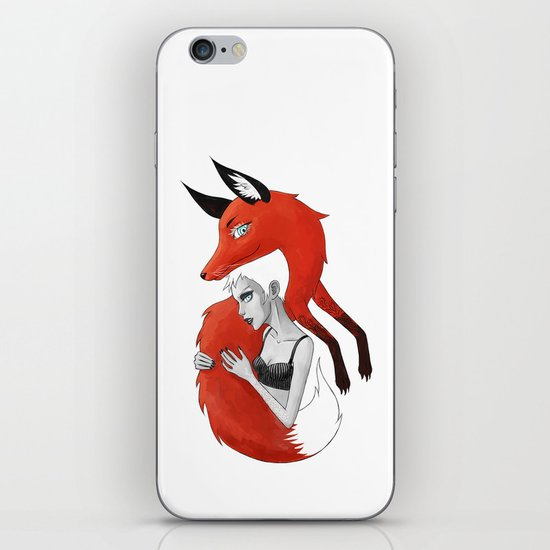 Girl and a Fox iPhone & iPod Skin