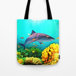 Shark in the water Tote Bag