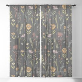 flat lay floral pattern on a dark background Sheer Curtain