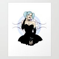 goth Art Prints featuring Goth Pinup by CatAstrophe