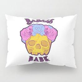 Badass Babe Flower Crown Skull Print Pillow Sham