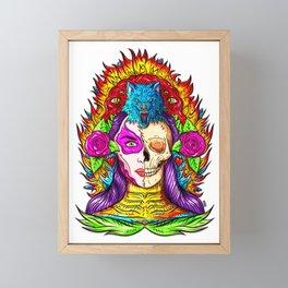Spiritual Indian Wolf Woman Framed Mini Art Print