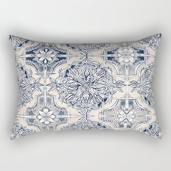 Brush and Ink Watercolor Pattern in Indigo and Cream Rectangular Pillow