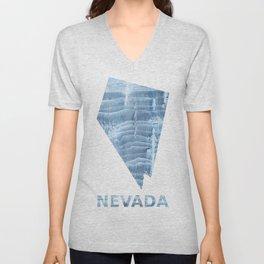 Nevada map outline Light steel blue blurred wash drawing design Unisex V-Neck