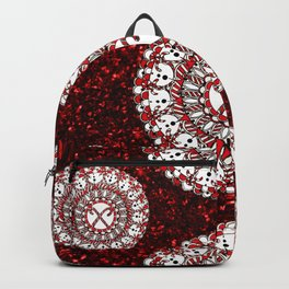 Red Glitter and Sparkling Candy Cane Mandala Textile Backpack