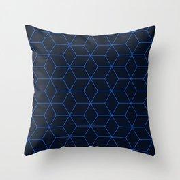 Cube Pattern 01 Blue Throw Pillow