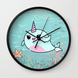 Cute Narwhal and Starfish Wall Clock