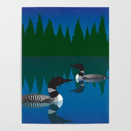 Loons in a Woodland Lake Poster