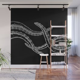 Touching Woodcut Style Cthulhu Octopus Tentacles Wall Mural