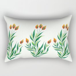Abstract Green Plant With Orange Buds Rectangular Pillow