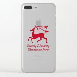 Prancing Christmas Deer Clear iPhone Case