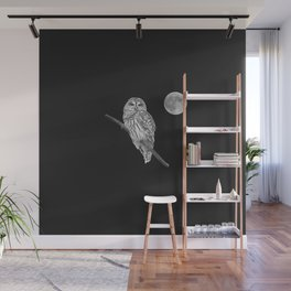 Owl, See the Moon (bw) Wall Mural
