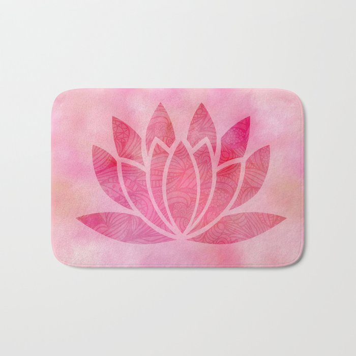 Zen watercolor lotus flower yoga symbol bath mat by ruthart society6 zen watercolor lotus flower yoga symbol bath mat mightylinksfo