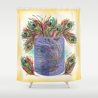 feathers Shower Curtains featuring Feathers by famenxt