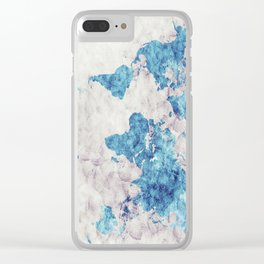 world map 52 blue Clear iPhone Case