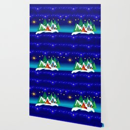 Christmas, Home for the Holidays Midnight Blue, Holiday Fantasy Collection Wallpaper