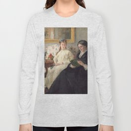 The Mother and Sister of the Artist - Marie-Joséphine & Edma by Berthe Morisot Long Sleeve T-shirt