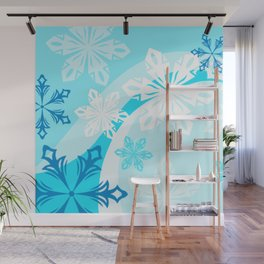 Blue Flower Art Winter Holiday Wall Mural