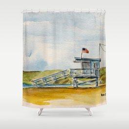 Santa Monica Beach - Lifeguard Tower #8 Shower Curtain