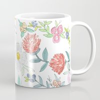 jenna kutcher Mugs featuring Floral Watercolor Pattern  by Jenna Kutcher