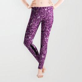 Unicorn on sparkling pink glitter print Leggings