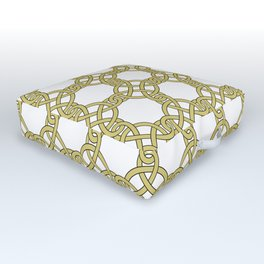 Gold & White Knotted Design Outdoor Floor Cushion
