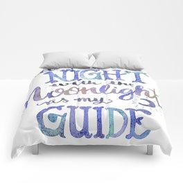 Watercolor Moonlight Lettering Comforters