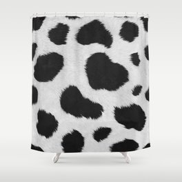Black and white realistic cow fur texture Shower Curtain