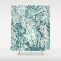 fig Shower Curtains featuring Fig Leaf Fancy - a pattern in teal and grey by micklyn