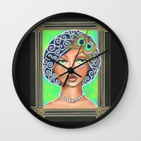 the great gatsby Wall Clocks featuring Great Gatsby by Jaymee Laws