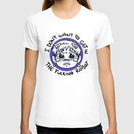 Sad shinji blue T-shirt
