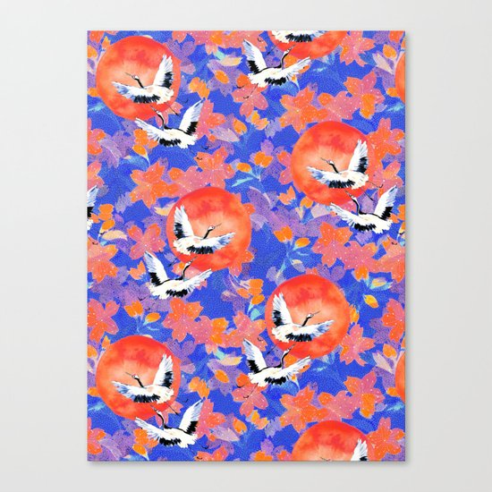 Japanese Garden: Cranes, Sun and Blossoms LT Canvas Print