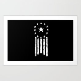 Black And White Old World American Flag Art Print