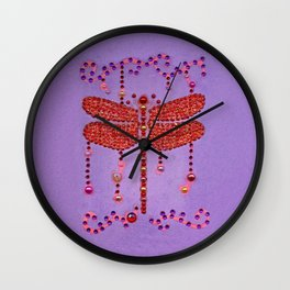 Dragonfly in Red Wall Clock