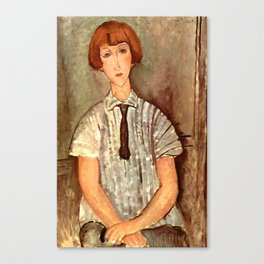 """Amedeo Modigliani """"Young Girl in a Striped Blouse"""" Canvas Print"""